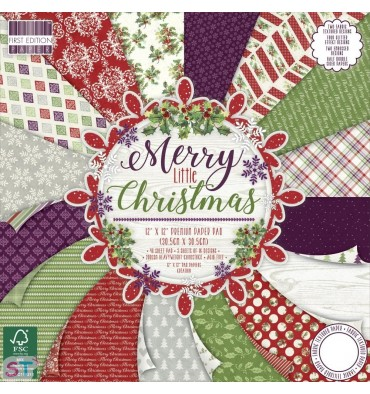 Paper pad First Edition Merry Little Christmas 12x12 Dovecraft