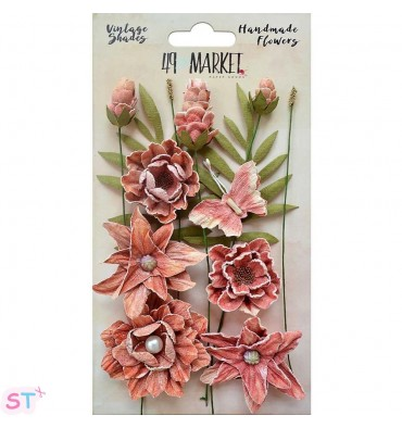 Vintage Shades Cluster Flowers Cerise x 13