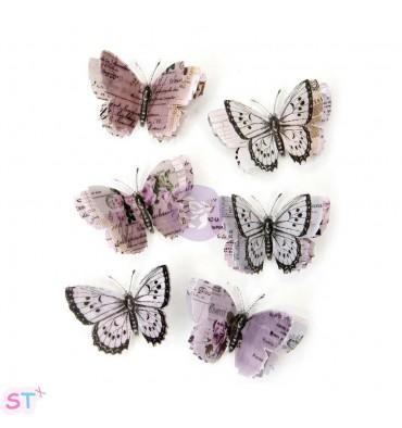 Lavender Vellum Butterflies x 6