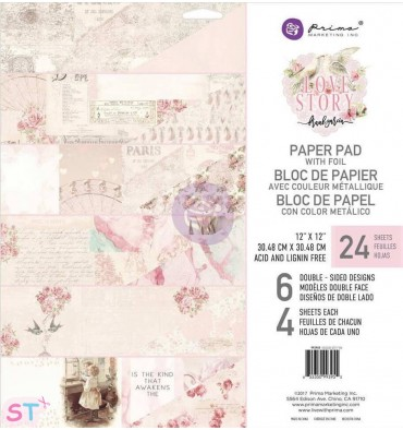 Paper pad Love Story 12x12  Prima Marketing