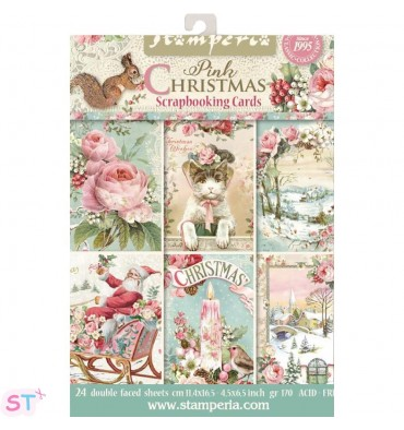 Pink Christmas Stamperia Cards