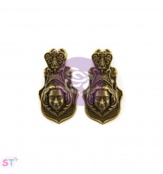 Victorian Face Metal Clips x 2