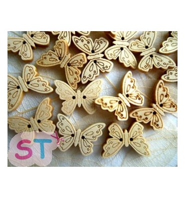 Botones de madera mariposas