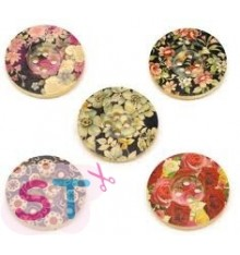 Botones de madera de flores